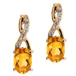 0.87 Ct Oval Yellow Citrine and Topaz Rose Gold Plated