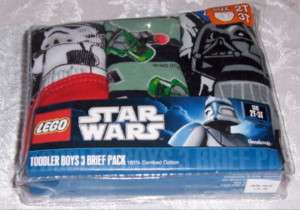 Toddler Boys 3 Brief Pack Lego Star Wars Cotton 2T 3T