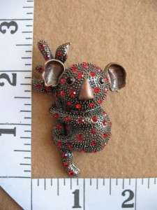 KOALA BEAR Red CRYSTAL RHINESTONE Jewelry BROOCH PIN