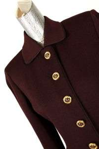 womens maroon ST JOHN 2pc skirt suit knit gold buttons classic fitted