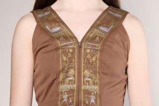 VINTAGE SIGNED SHAHEEN EGYPTIAN MAXI DRESS Vtg 70s Print Pleat