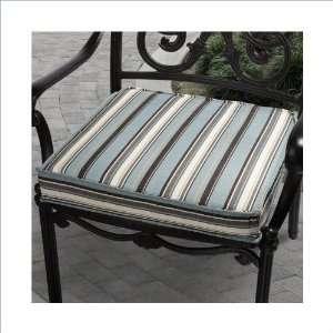 Chair Cushion   Light Blue,Brown,Yellow Stripe Patio, Lawn & Garden