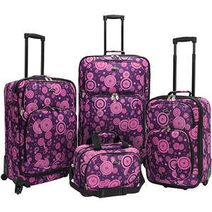 Fashion 4 Piece Spinner Luggage Set, Purple Polka Dots Luggage