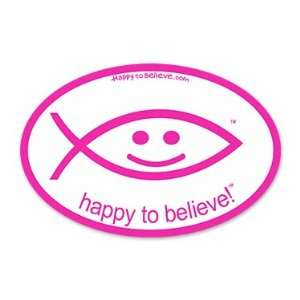 Happy to Believe Christian Fish Euro Sticker (Cerise) Automotive