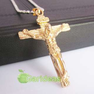 Mens Stainless Steel Gold Jesus Cross Chain Pendant Necklace Cool