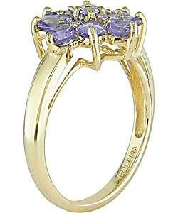 14k Yellow Gold Tanzanite Flower Ring