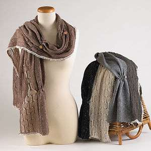 Two Tone Knit Button Cotton Scarf w/ Lace 14x76   3 Chic Colors