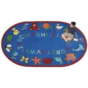 Joy Carpets ABC Animals Kids Area Rug   Assorted Colors Red, Red, 7 ft