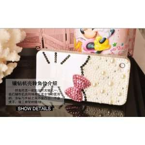3d Crystal& Pearl Hello Kitty Pattern Case for Iphone 4&4s White