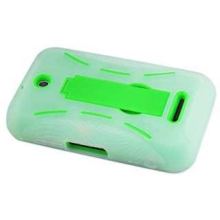 Cricket ZTE Score X500 Heavy Duty Impact Hybrid Case Clear Green Stand