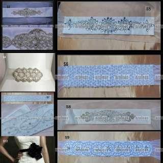 Beaded Crystal Ivory/White Satin Wedding Bridal Dress Belt Sash Custom
