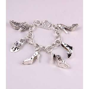 Fashion Jewelry Charm Bracelet with Shoes Pattern Silver