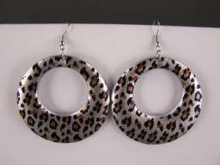 Silver Black Brown cheetah leopard animal print dangle disc hoop