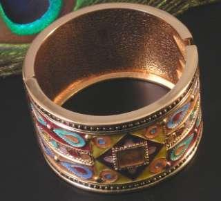 Turkish Style Gold Pewter Enamel Hinged Bangle Bracelet