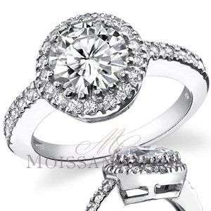 5mm Round Moissanite Halo Low Profile Engagement Ring
