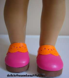 DOLL CLOTHES fits American Girl Pink/Orange Clog Shoes