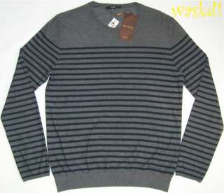 GUCCI Mens gray Striped 100% CASHMMERE crewneck LOGO sweater XXL NWT