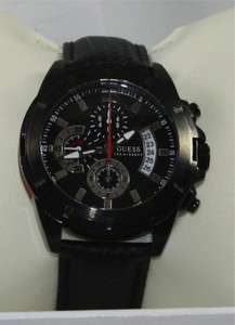 GUESS U16528G1 Mens Chronograph Black Leather Strap Watch NEW
