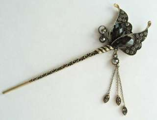 SWAROVSKI CRYSTAL BRONZE BUTTERFLY DANGLE HAIR STICK PIN PICK 520