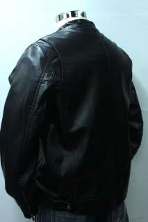 NWT GUESS mens fur lined black motorcycle Jacket Coat Faux Leather
