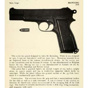 1948 Print 1935 9 mm Luger Browning Pistol   Original