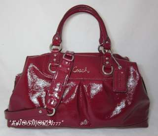 ASHLEY Patent Leather Large Satchel Bag Purse Sac Garnet New 15454