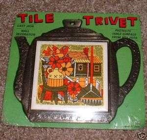 Vintage TEAPOT COFFEE POT TRIVET HOT PLATE iron barrel