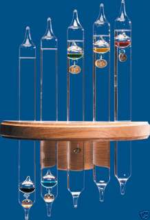 Original 5 Tube Galileo Thermometer Gold Tags   Oak
