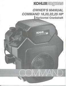 Kohler Command 18,20,22,25 HP Operators Manual NEW