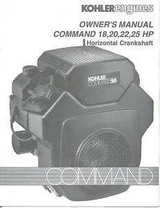 Kohler Command 18,20,22,25 HP Operators Manual NEW