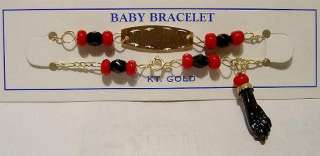 14k Gold Baby AZABACHE Boy Girl Bracelet Free ship