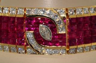 75,000 49.26CT INVISIBLE SET RUBY & DIAMOND BRACELET 18K YELLOW GOLD