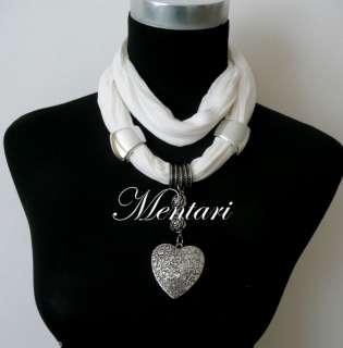 Short Jewellery Scarf Love heart & Rose Pendant Choker
