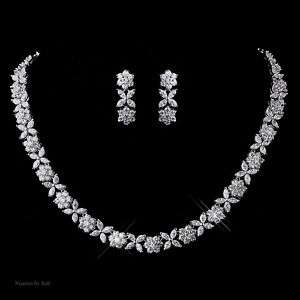 Clear Cubic Zirconia Choker Necklace Earrings Set 8611