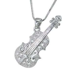 Violin Iced out Unisex Charm Pendant Silver Tone White Crystal, 15