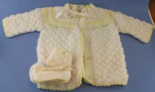 Vintage Baby Hand Knitted Crochet White Sweater Set