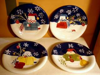 Set of 4 Snowman Plates, Different Patterns, Kohls NEW