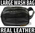 Mens Large Soft Black Leather Toiletry Travel Wash Bag