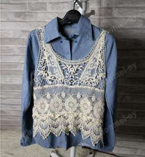 Women Fashion Sweet Cute Lace Hollow Crochet Knit Batwing Loose Blouse