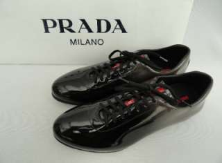 BN Mens PRADA Black Leather Trainers Shoes Sneakers UK9.5 EU43.5