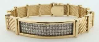 Mens 14K Yellow Gold 1.75 Carat Diamond Bracelet