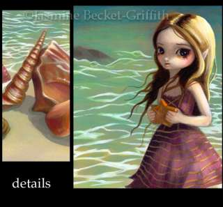 By the Seaside sea shell mermaid fairy art BIG PRINT