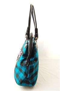 NWOT AUTH Betsey Johnson Plaid Rose Pattern Large Satchel Bag Blue
