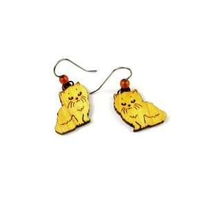 Cat Dangle Earrings from Organic Wood of a Maple Tree with Amber Bead