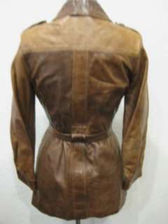 vtg 70s Ladies Leather Military Style Shirt Jacket Coat