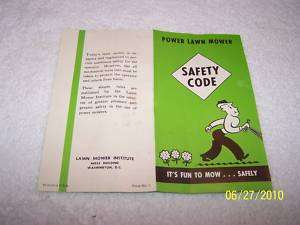 Vintage Power Lawn Mower Safety Code Brochure 1950s