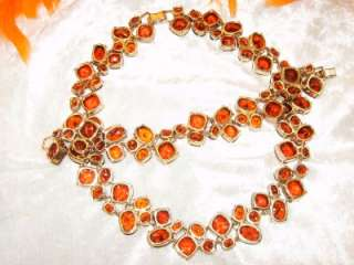 600~~STUNNING ORANGE/RED CRYSTAL/RHINESTONE NECKLACE~BRACELET