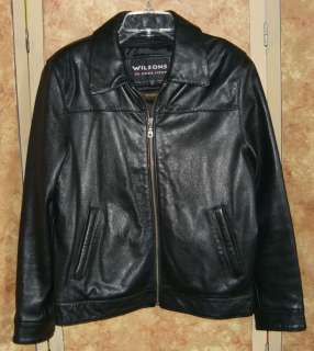 WILSONS Black Leather Jacket Ladies sz S thinsulate zip out lining