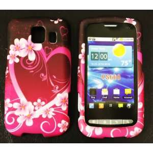 Pink with Purple Love Heart Rubberized Texture LG Vortex Vs660 Snap on