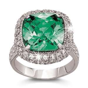 Carat Simulated Emerald Cushion Cut Ring